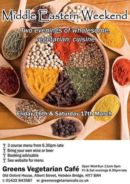 Middle Eastern Weekend at Greens Vegetarian Café