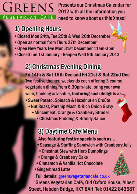 Christmas at Greens Vegetarian Café Hebden Bridge