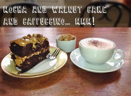 Mocha & Walnut Cake and Cappuccino