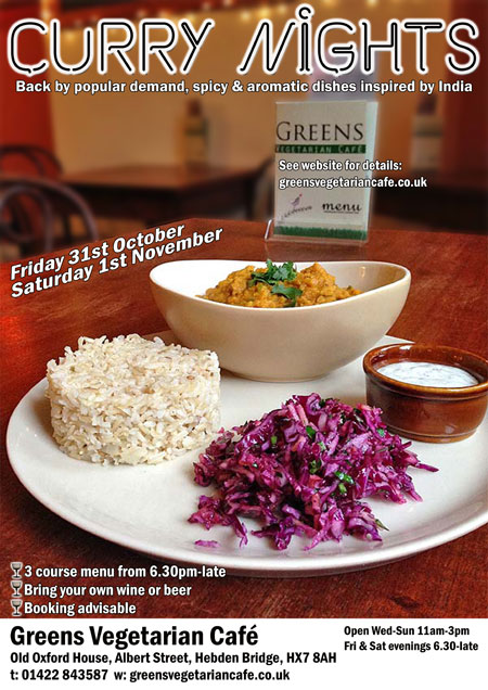 Curry Nights at Greens Vegetarian Café Hebden Bridge