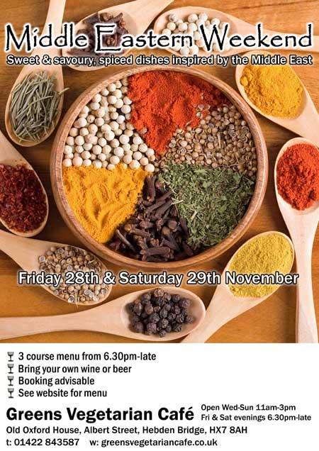 Middle Eastern Weekend at Greens Vegetarian Café Hebden Bridge