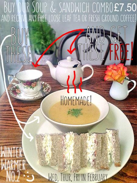 Soup & Sandwich offer at Greens Vegetarian Café